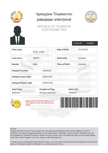 Tajikistan Evisa Official Get Your Tajik Electronic Visa
